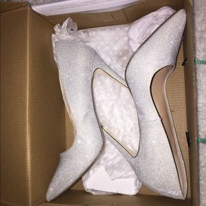 Call it Spring Silver Sparkly heels size 8